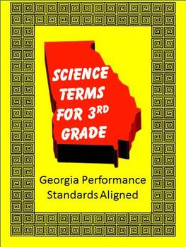 Science Vocabulary to align with GPS, 3rd Grade