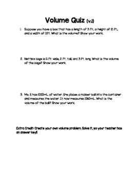 Science Volume Quiz