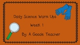 Daily Science Warm Ups (Bell Ringers) Week 1