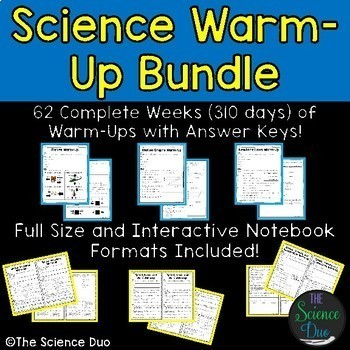 Science Warm-Ups and Bell Ringers Bundle - Distance Learning Compatible