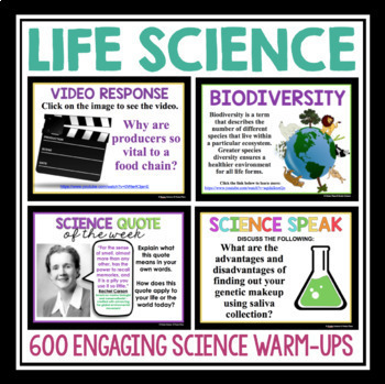 Science Warm Ups and Bell Ringers Bundle - Earth, Physical, and Life Science