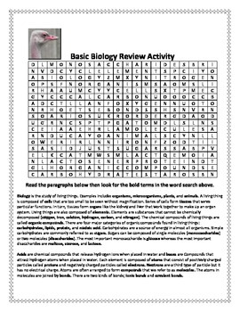 Biology Warm-up and Review Activity