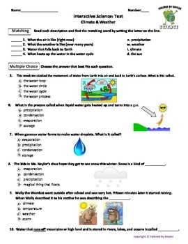 Science Test: Weather & Climate (Study Guide & Test Combo)