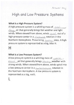 Science, Weather, High and Low Pressure Systems