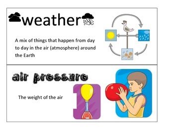 Science Weather Unit Vocabulary Cards