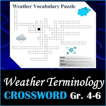 Science Weather Vocabulary Crossword Puzzle Activity Grades 4-7