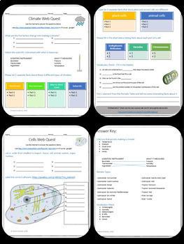 17 Science Webquests Grade 5-8 Bundle (Matter, Elements, Space, Cells, Motion..)