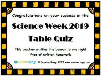 Science Week 2019 Table Quiz