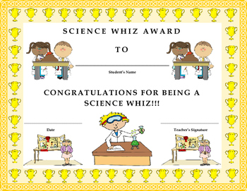Science Whiz Award Certificate- Kids Will Love It!!