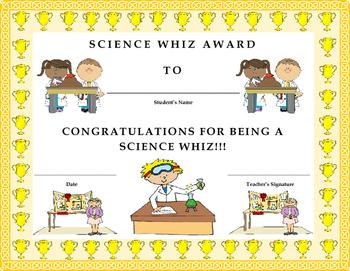 Science Whiz Award Certificate- Kids Will Love It!!