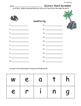 Science Word Scramble - Earth Science: Forces that Shape the Earth