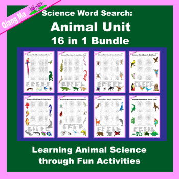 Science Word Search: Animal Unit