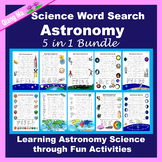Science Word Search: Astronomy 5 in 1 Bundle