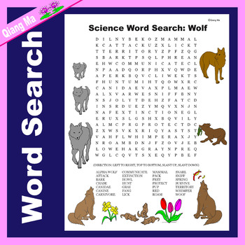 Science Word Search: Wolf (Animal/Mammal)