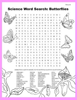 Science Word Search: Butterflies