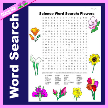Science Word Search: Flowers
