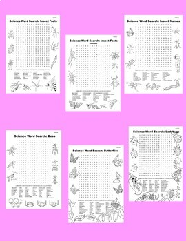 Science Word Search: Insect Mini Bundle