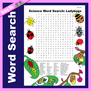 Science Word Search: Ladybug