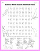 Science Word Search: Mammal Facts