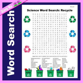 Science Word Search: Recycle