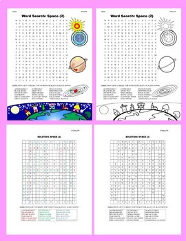 Science Word Search: Space