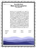 Science Word Search Waves ad their application Science standard 2.PS4