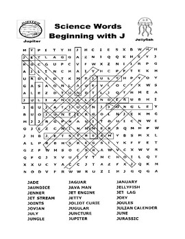 Science Word Search - Words Beginning with J