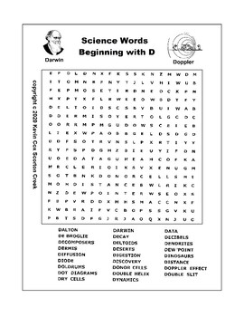 """Science Word Search - Words begining with """"D"""""""