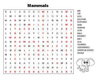 Science - Word Searches - Animals