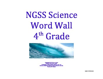 Science Word Wall 4th Fourth Grade Vocabulary NGSS National Standards