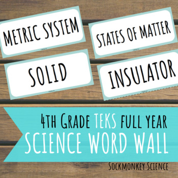 Science Word Wall 4th Grade FULL YEAR- TEKS STAAR Edition for Texas Standards