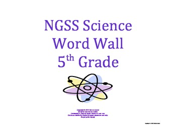 Science Word Wall 5th Fifth Grade Vocabulary NGSS National Standards