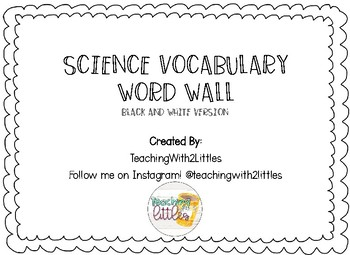 Science Word Wall Black and White