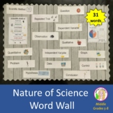 Science Word Wall Bulletin Board (31 Nature of Science words and illustrations)