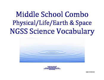 Science Word Wall COMBO MS Middle School Vocabulary NGSS Aligned