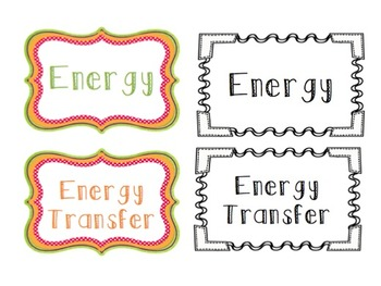Science Word Wall - Energy