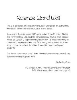 Science Word Wall: Freebie