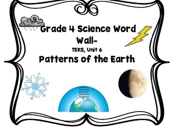 Science Word Wall, Grade 4, TEKS Unit 6, Patterns of the Earth