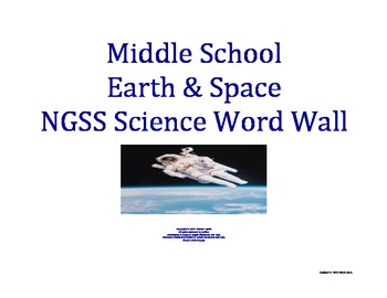 Science Word Wall MS Middle School EARTH SPACE Vocabulary NGSS  Aligned