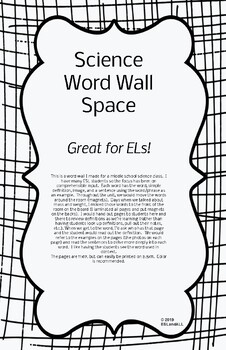 Science Word Wall Space ESL