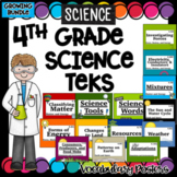 Science Word Wall Vocabulary Posters- 4th Grade TEKS