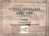 Science Word Wall Wooden Background