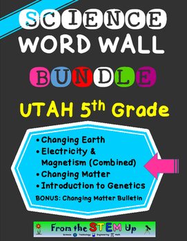 Science Word Wall Words BUNDLE: Utah 5th Grade Year-Long