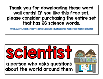 Science Word Wall Words (FREE!)