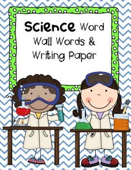 Science Word Wall Words & Writing Paper - PRE-K & Kindergarten