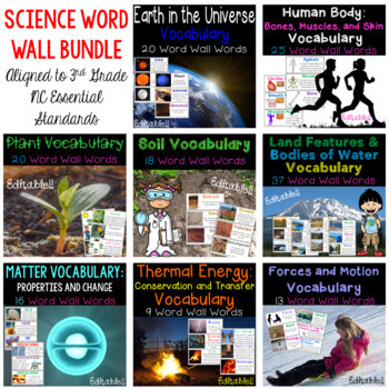 Science Word Wall for 3rd Grade NC Essential Standards