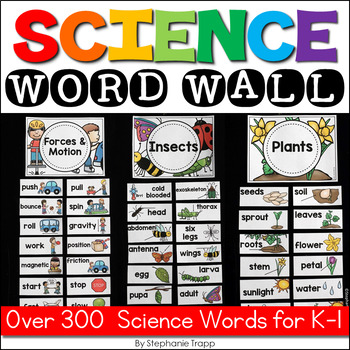 Science Word Wall for Kindergarten and First Grade