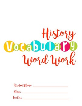 History Word Work Cover Page