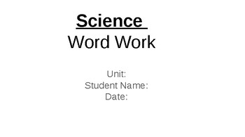 Science Word Work-Synonyms