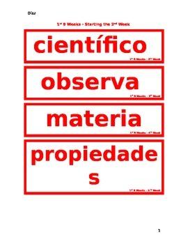 Science Words of the Week - Spanish